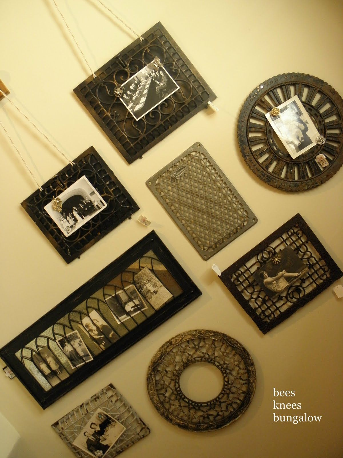 Hang old metal grates on the wall and affix old photos with ...