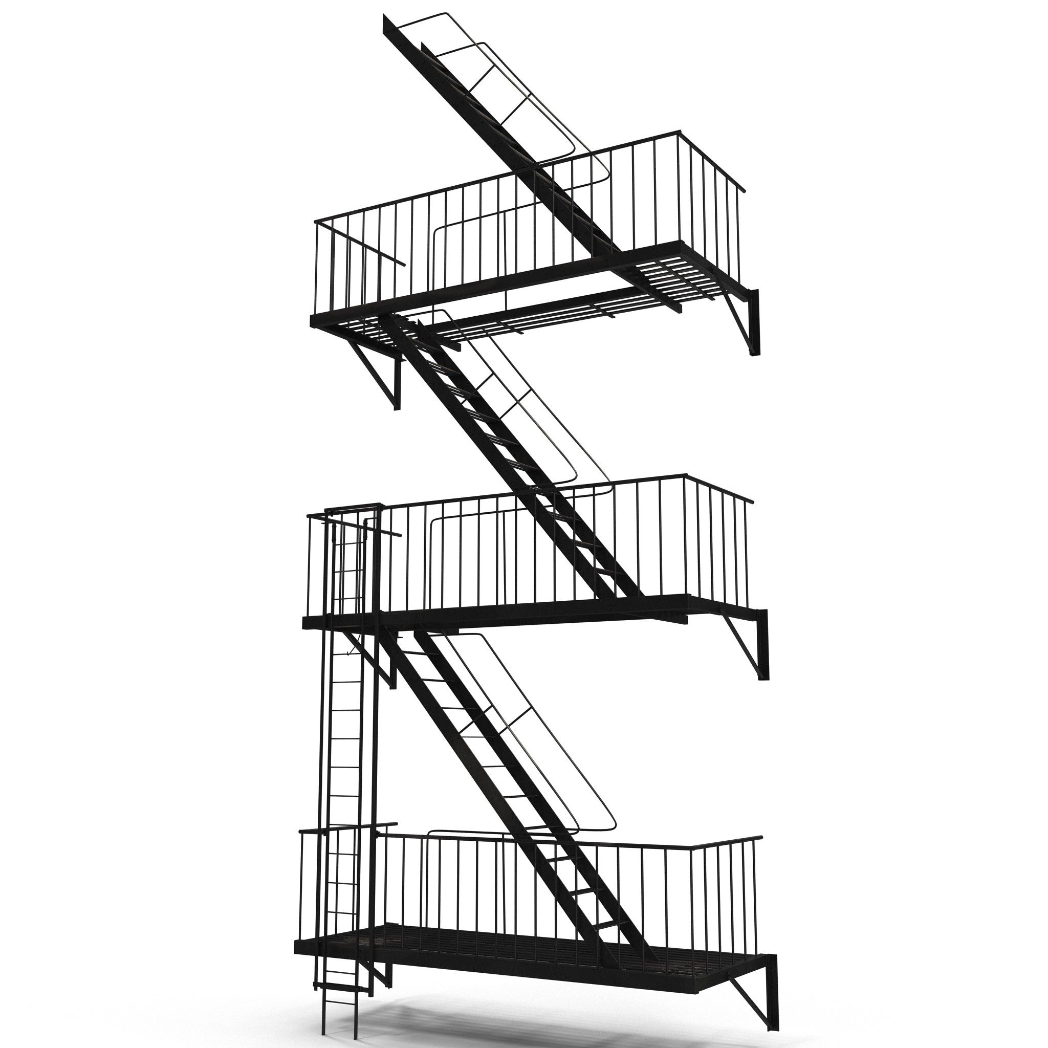 Fire Escape Stairs Model Available On Turbo Squid, The Worldu0027s Leading  Provider Of Digital Models For Visualization, Films, Television, And Games.