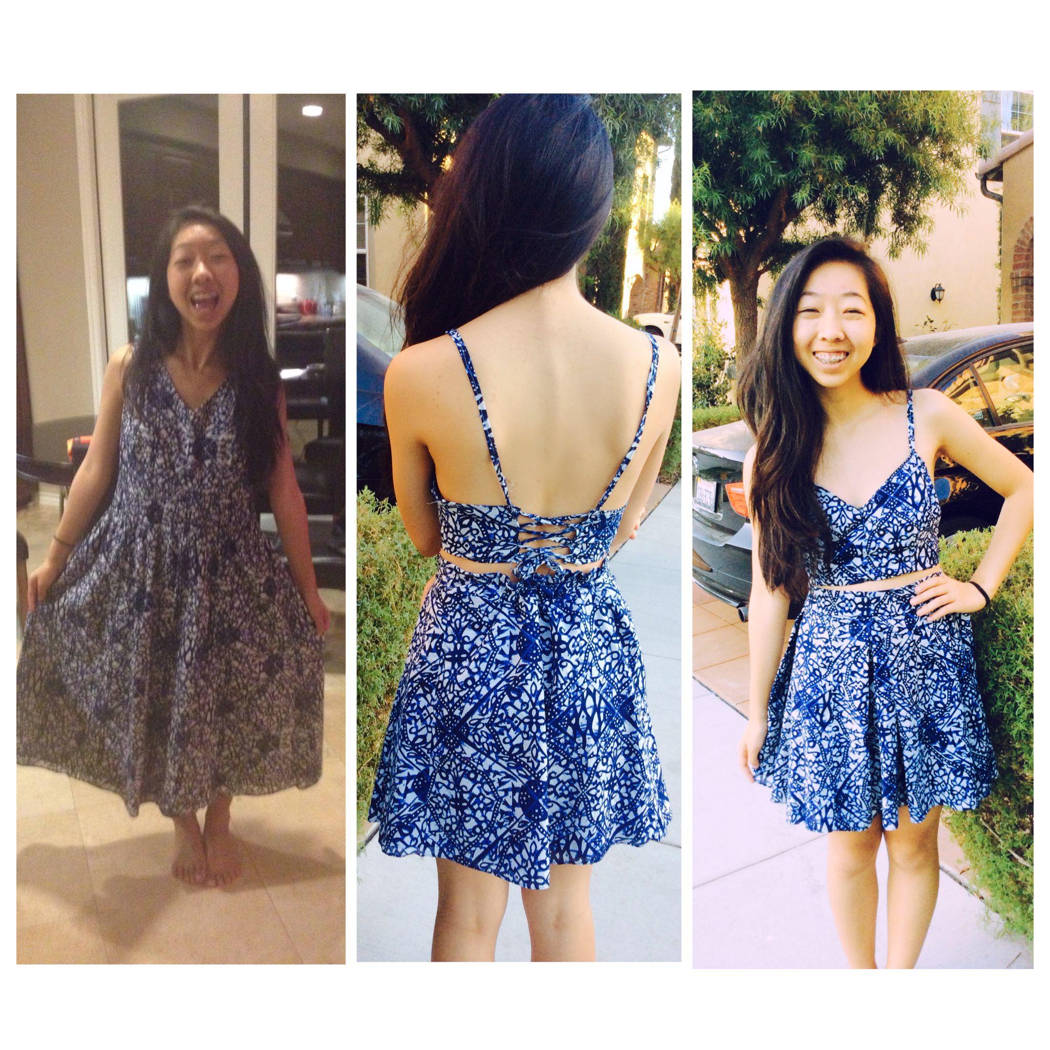 thrift store dress transformation! crop top+box pleat skirt | my ...