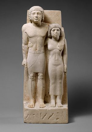 Statue of Memi and Sabu, Old Kingdom, Dynasty 4, ca. 2575–2465 b.c.  Egyptian; Probably from Giza  Painted limestone    H. 24 3/8 in. (62 cm)