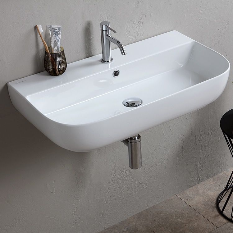 Modern White Ceramic Wall Mounted Or Vessel Sink Wall Mounted