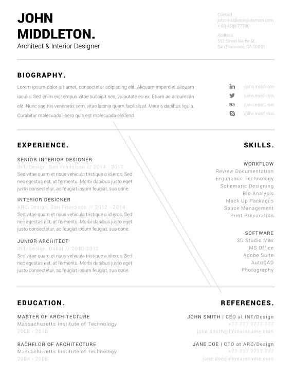 Architect Resume, Minimalist CV, ONE Page Resume, Professional - single page resume template