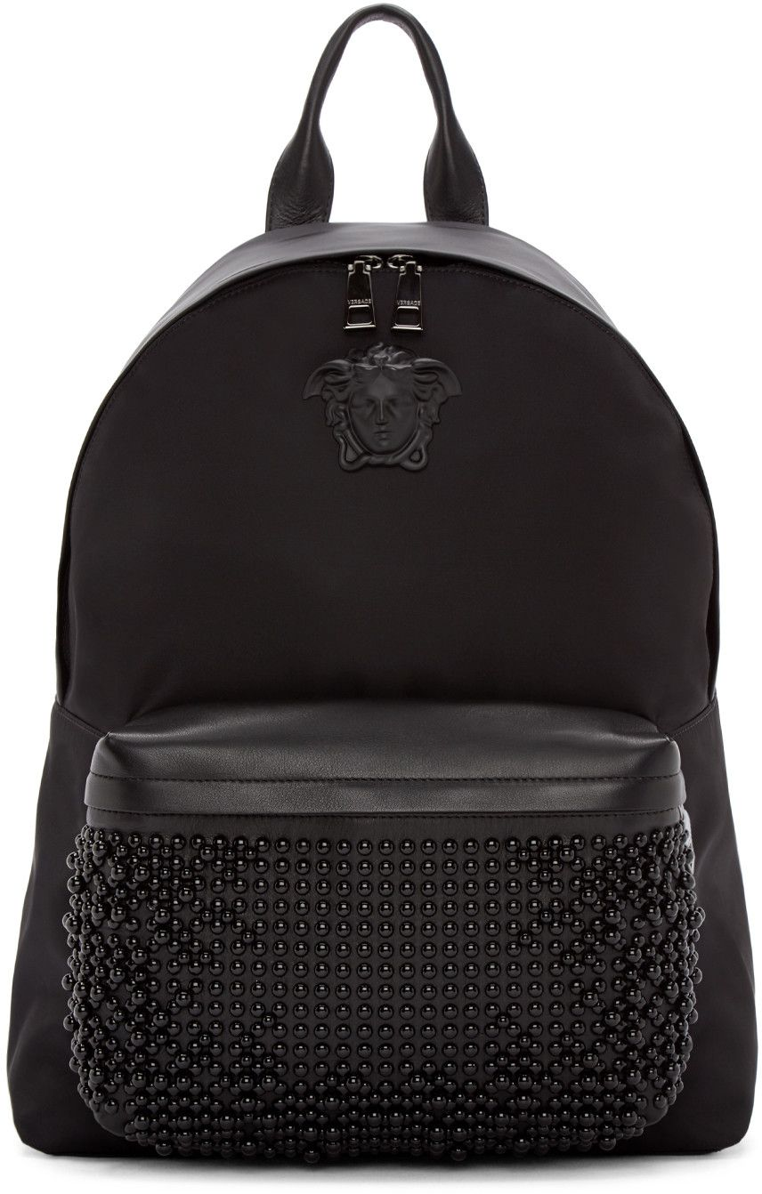 1acce31fd28 VERSACE Black Nylon Studded Backpack.  versace  bags  leather  lining   nylon  backpacks