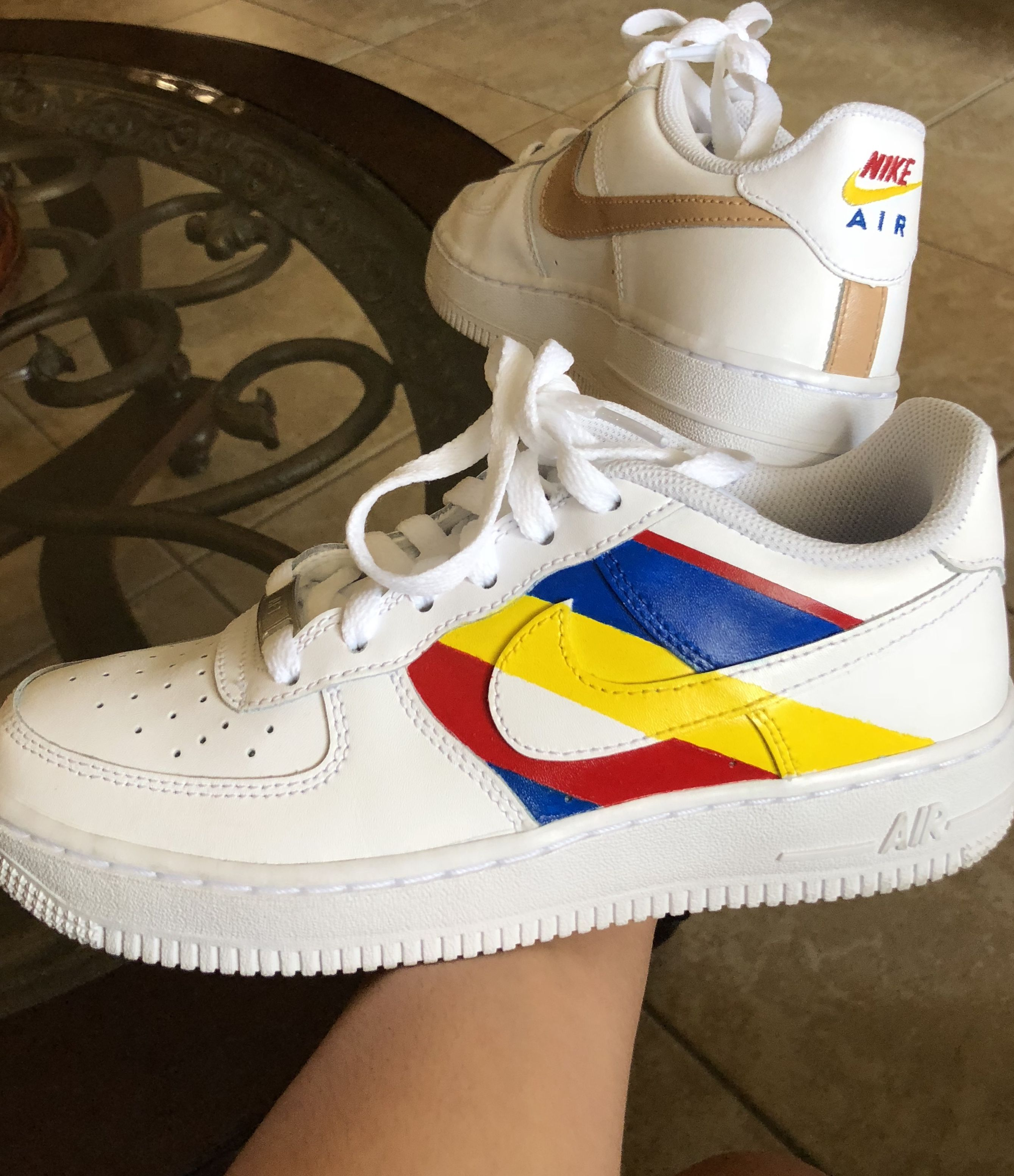 Nike Air Force 1 w primary colors   Black nike shoes, Nike