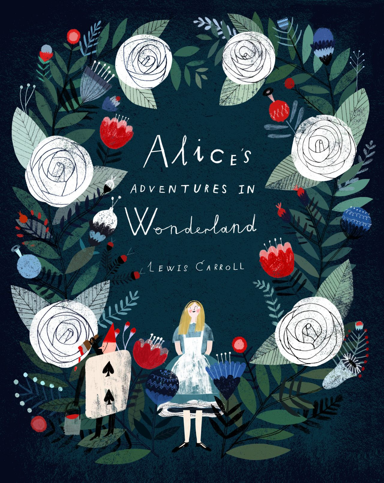 Book Cover With Illustration : Alice s adventures in wonderland by lewis carroll design