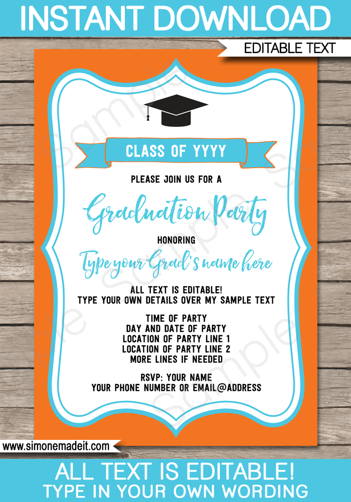 Graduation Party Invitations Template Party Invitation Templates - Party invitation template: grad party invites templates