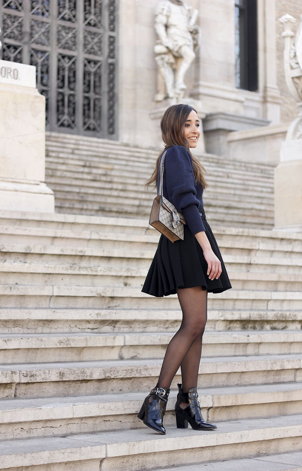 Blu Sweater Black Skirt Gucci Bag Black Ankle Boots Street Style Outfit 20191 Street Style Outfit Blogger Outfits Clothes [ 1557 x 1000 Pixel ]