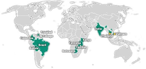 World map highlighting the countries in which CDC is working on - best of world map with brazil highlighted