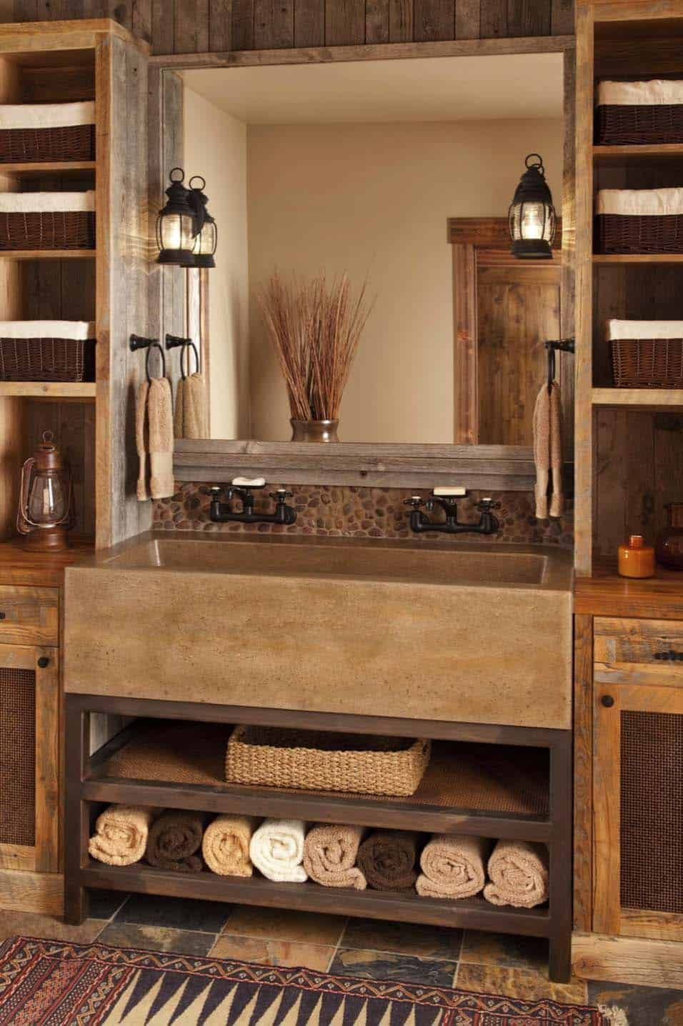 9 Charming And Natural Rustic Bathroom Design Ideas: Cozy Mountain Hideaway With Charming Modern-rustic Style