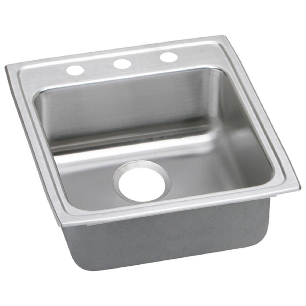 Gourmet Top Mount Stainless Steel 19 in. 3-Hole Single Bowl Kitchen Sink, Lustrous Highlighted Satin