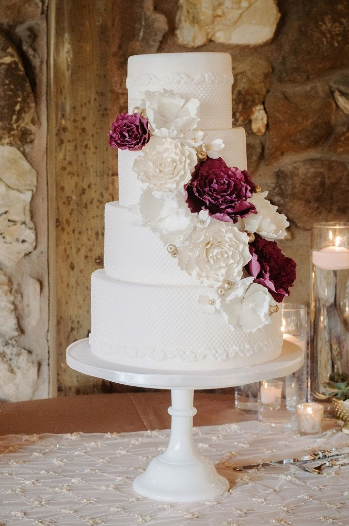 Four Tier Wedding Cake With Burgundy Accents The Best Ways