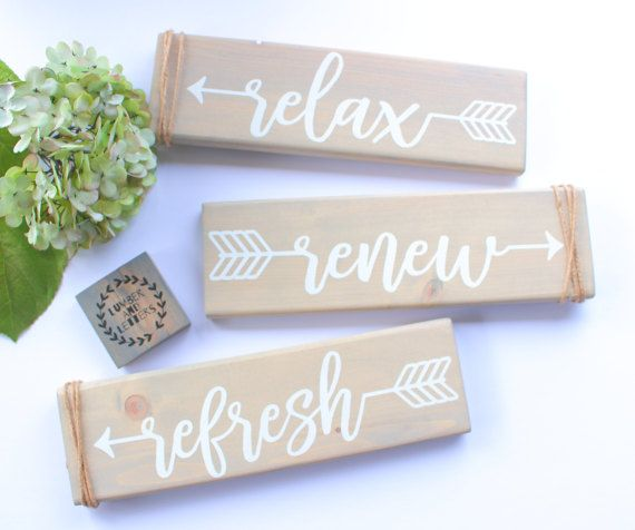Beachy Bathroom Wall Decor Relax Sign Relax Renew Refresh