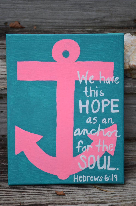 Canvas Painting - Hebrews 6:19 - Anchor. $15.00, via Etsy.   My ...