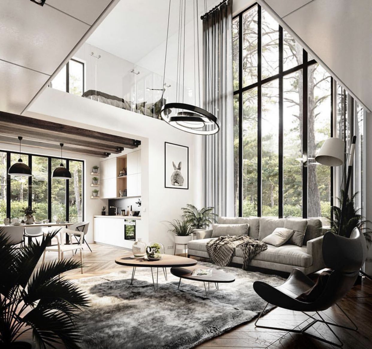 The Amazingly Tall Windows The Lighting Fixture And The Contemporary Design Style Contemporary Decor Living Room Modern Houses Interior Home Decor Trends