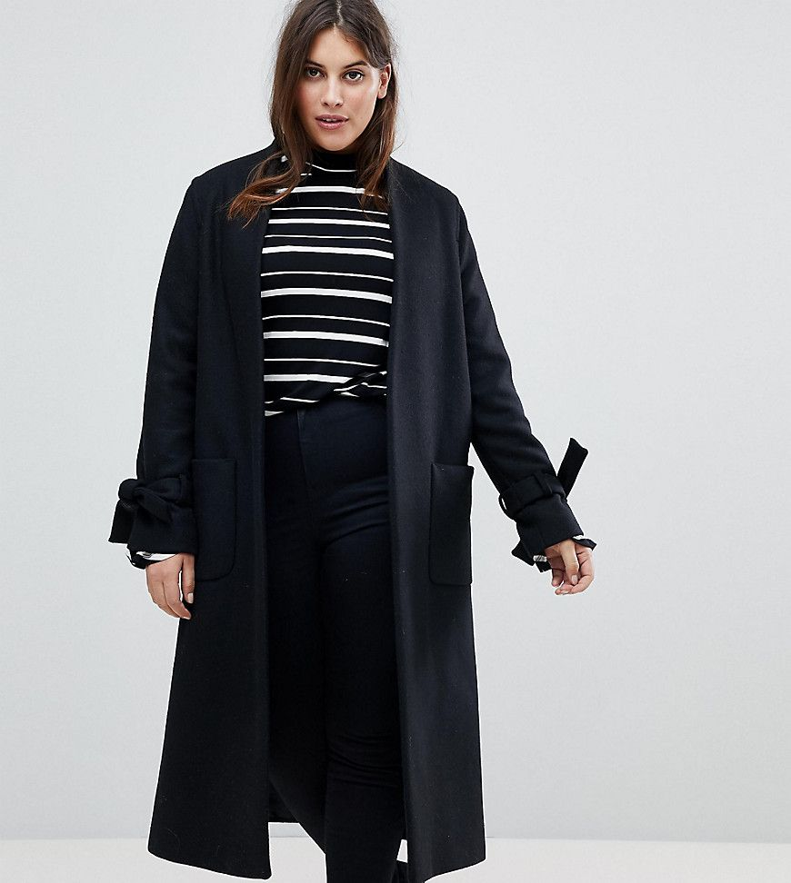 f9d9ab33e499 Helene Berman Plus Tie Sleeve Wool Blend Duster Coat | Products ...
