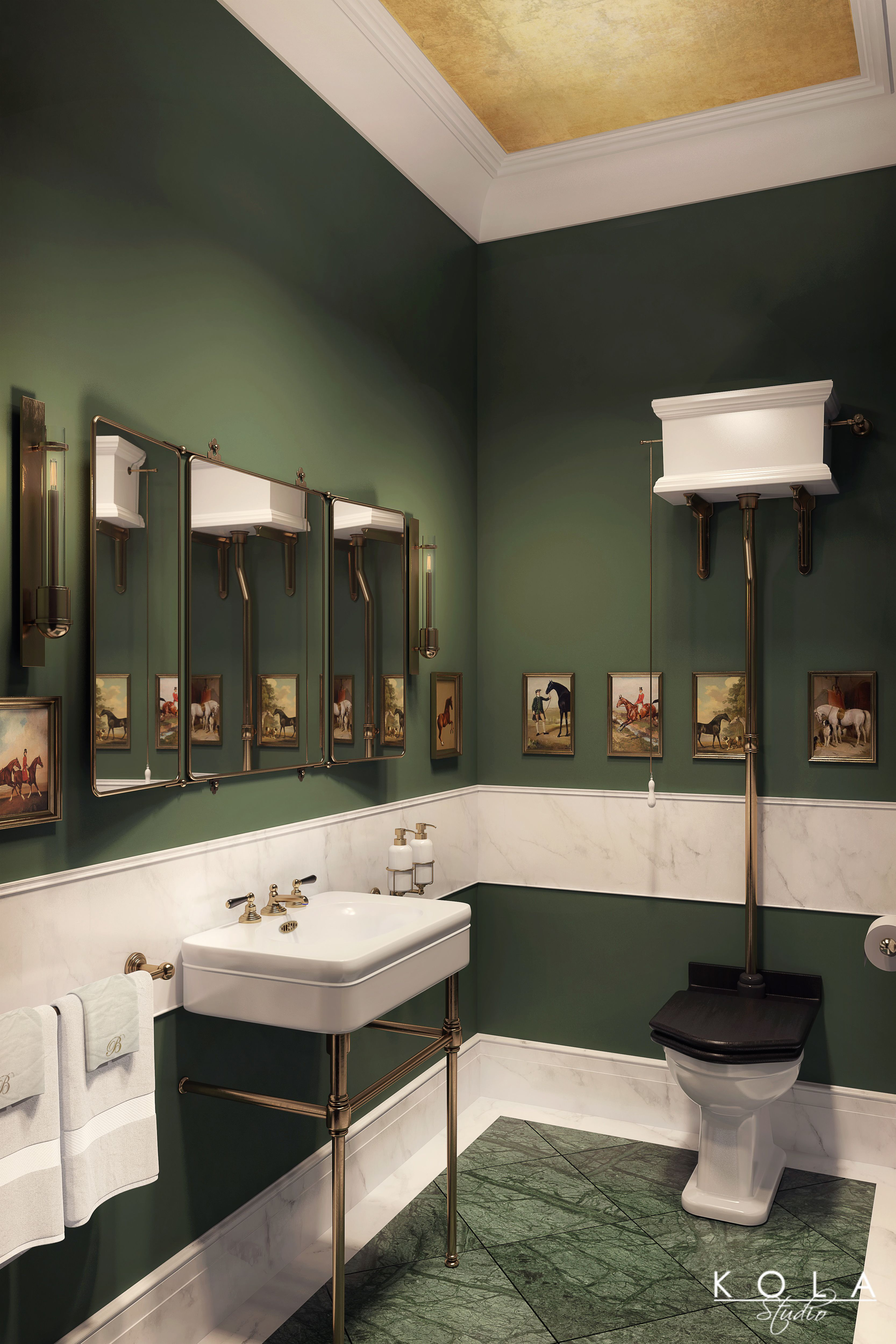 Interior Design Of Guest Room: Interior Visualization Of Elegant Classical Guest Bathroom