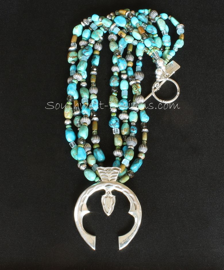 Sterling Silver Naja Pendant with 4 Strands of Turquoise Nuggets, Fire Polished & Picasso Turquoise Glass, 64 Oxidized Sterling Silver Beads, and Sterling Silver Toggle Clasp is part of Turquoise stone jewelry, Turquoise jewelry native american, Silver ring designs, Turquoise jewelry, Oxidized sterling silver, Sterling silver bead - 2 inches tall by 2 inches wide (a vertical hang length of about 9 inches when wearing)