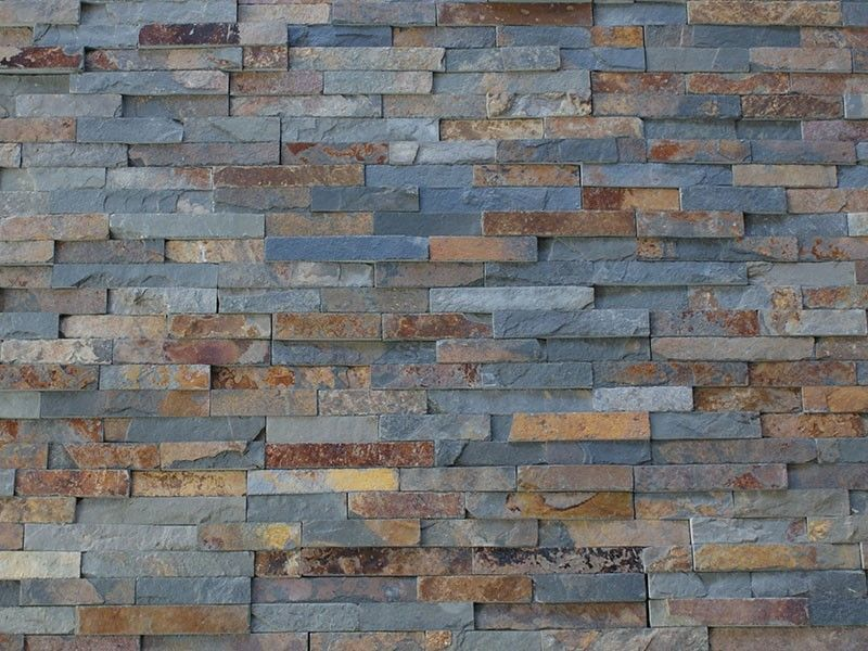 multi colour slate split face mosaic tile rock panels 3d