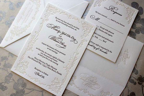 Ornate Letterpress Wedding Invitations F O I L Pinterest