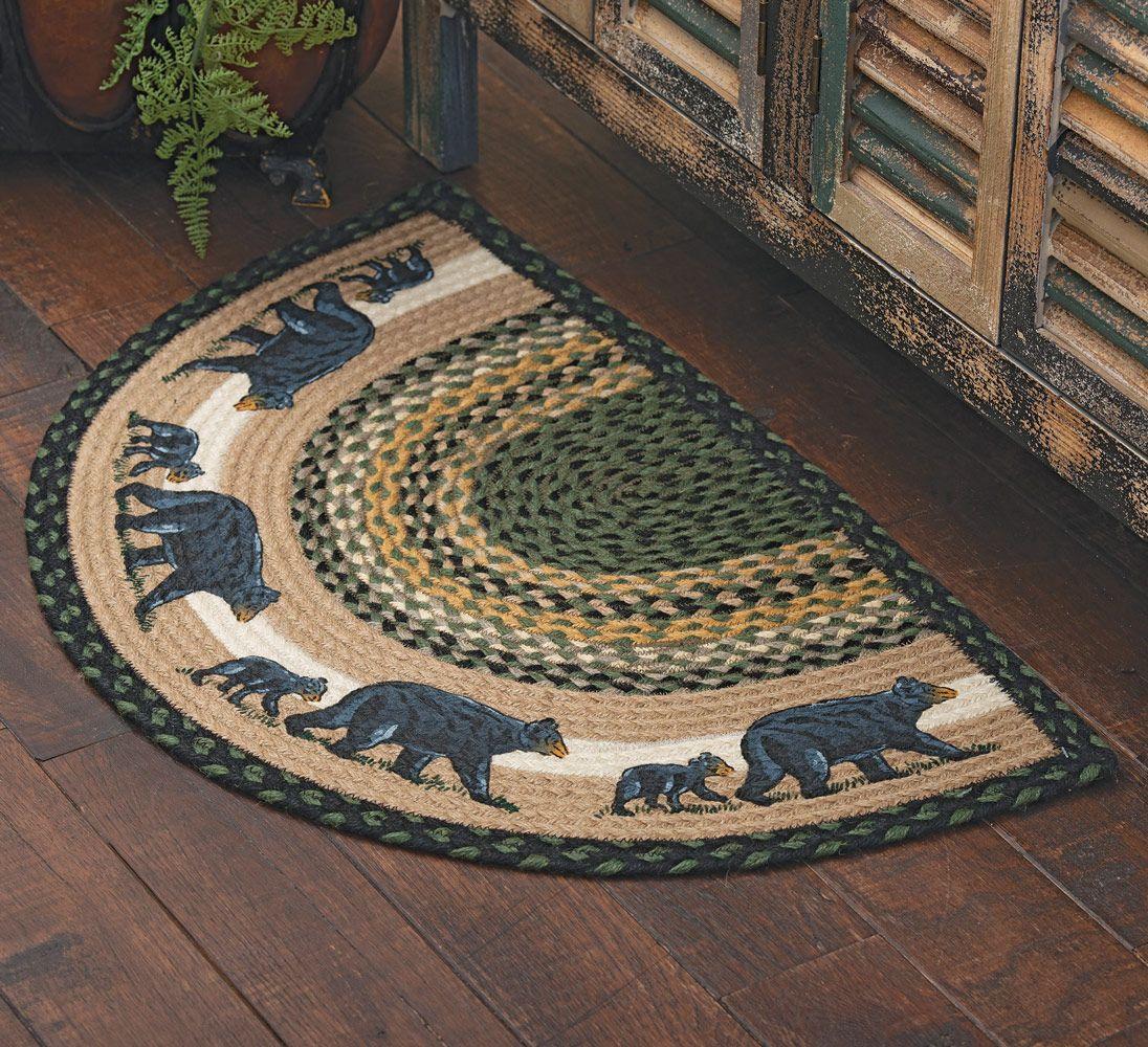 Mama black bear u cub halfround braided rug for the kitchen