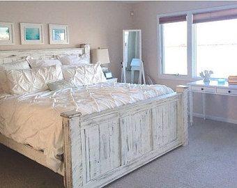 white wood king bed frame