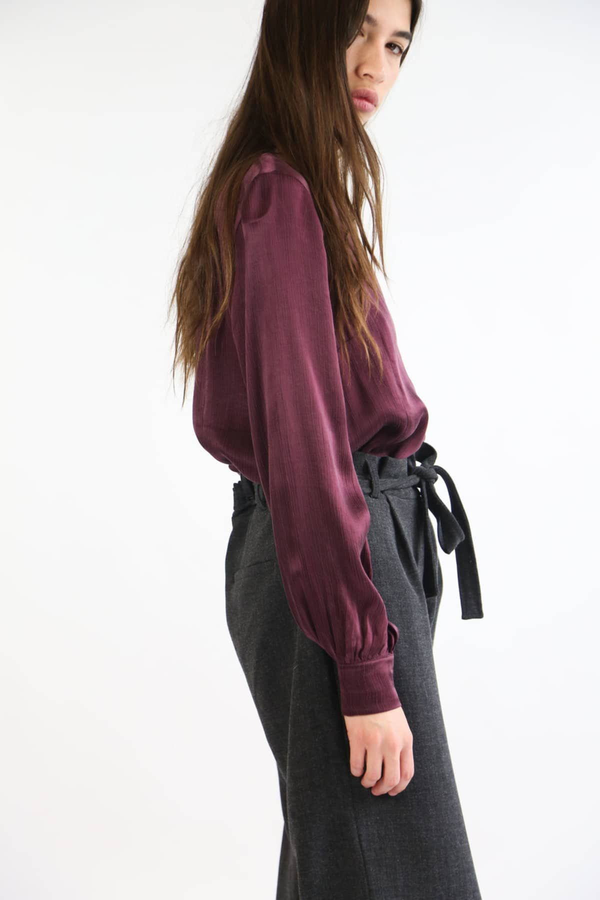 4a3b3cb58965 deep grape egon blouse - maroon long sleeve shirt - deep purple blouse - just  female