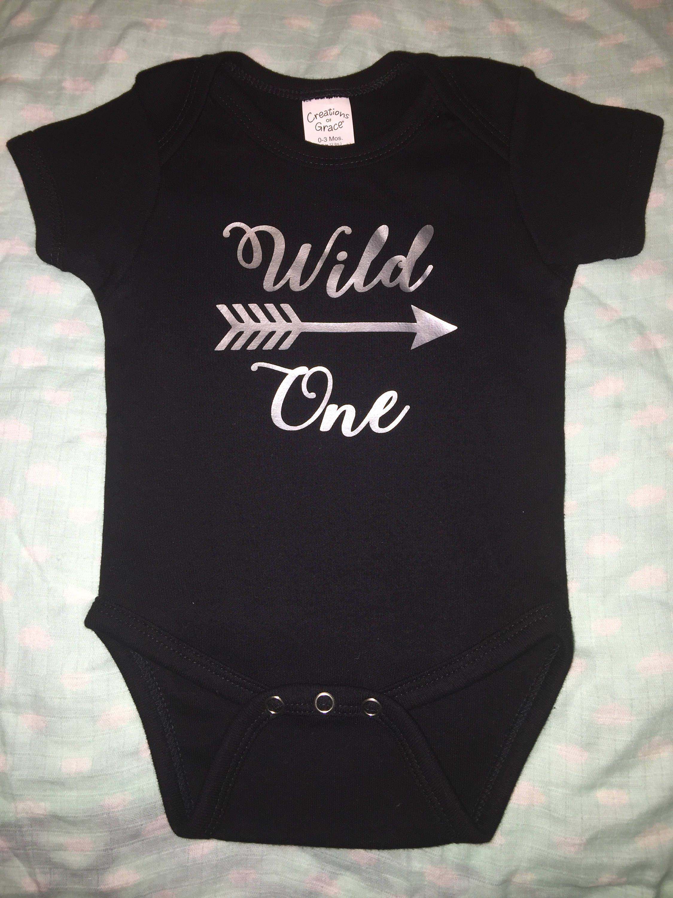 "Black onesie ""wild one"" with arrow Vinyl design Custom onesie"