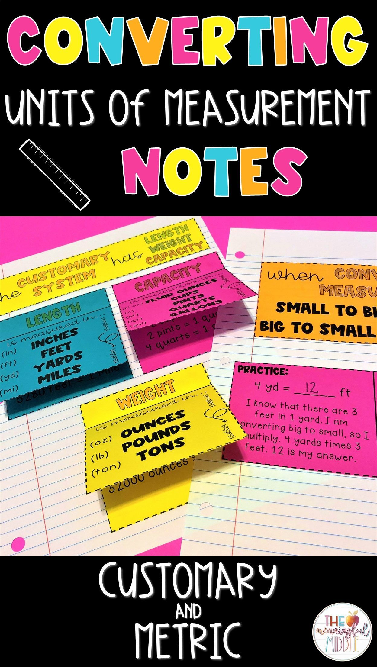 Converting Units Of Measurement Interactive Notes Customary And Metric In 2020 Interactive Notes Converting Units Measurement Elementary