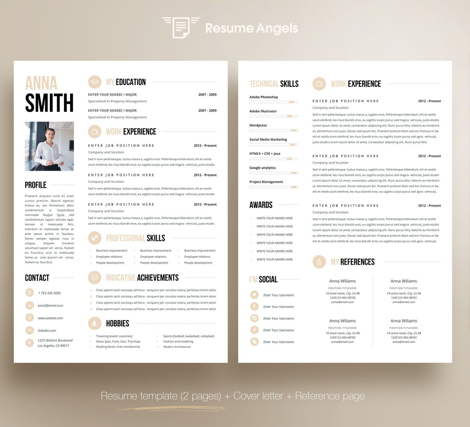 Professional Resume Template, Clean & Modern Resume