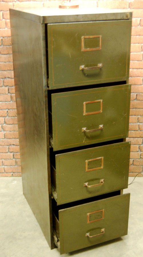 Vintage Olive Green Metal Filing Cabinet Filing Cabinet Vintage Filing Cabinet Metal Filing Cabinet