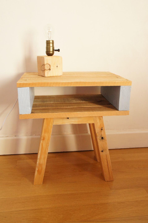 Nice Table De Chevet Palette #3: Table De Chevet En Bois De Palettes Recyclées - Meuble Du0027appoint