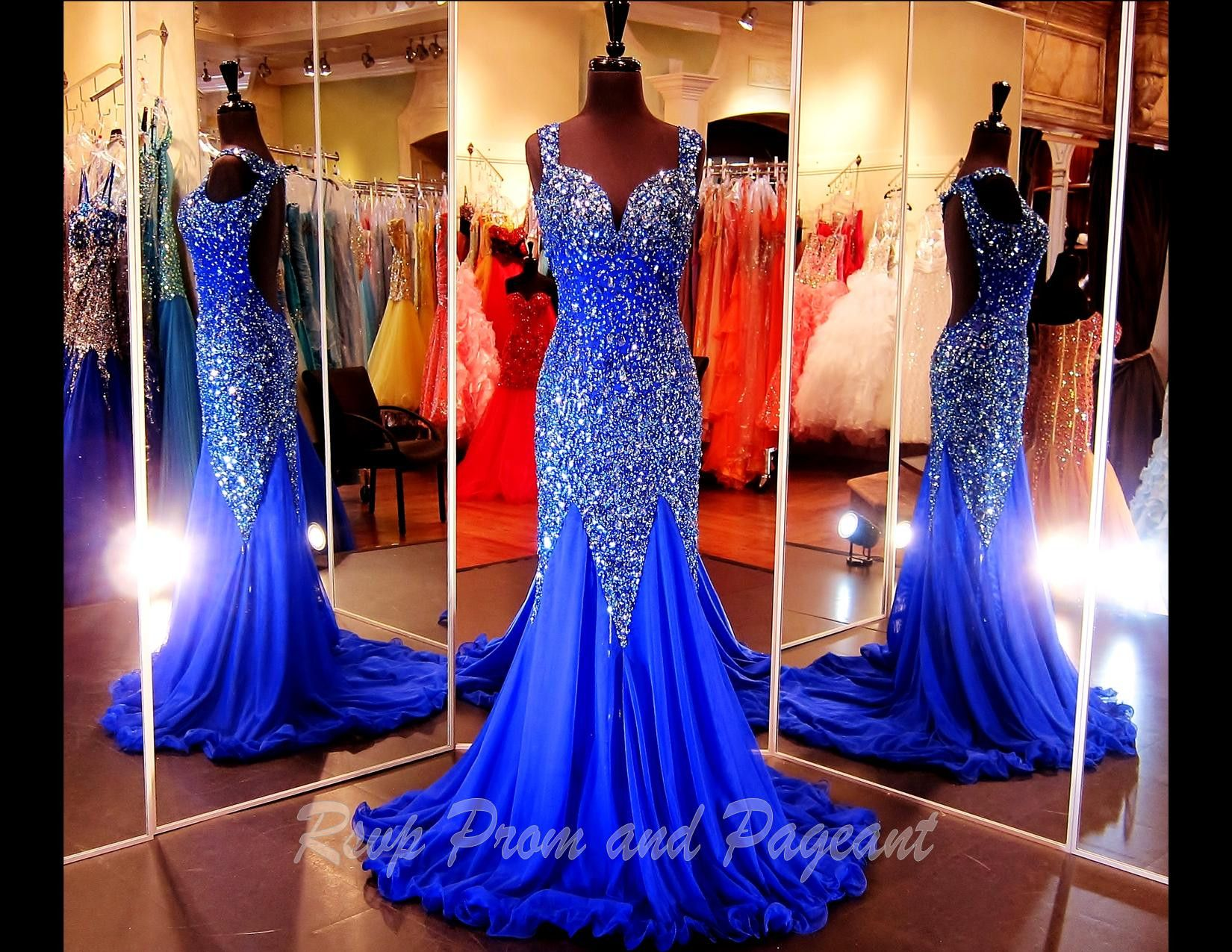 Royal Blue Prom/Pageant Dress-Sweetheart Neckline-Cap sleeves-open ...