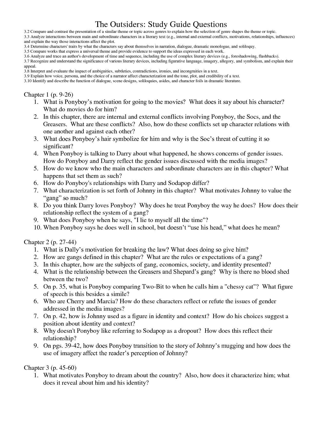 Worksheets The Outsiders Worksheets the outsiders chapter questions study guide questions