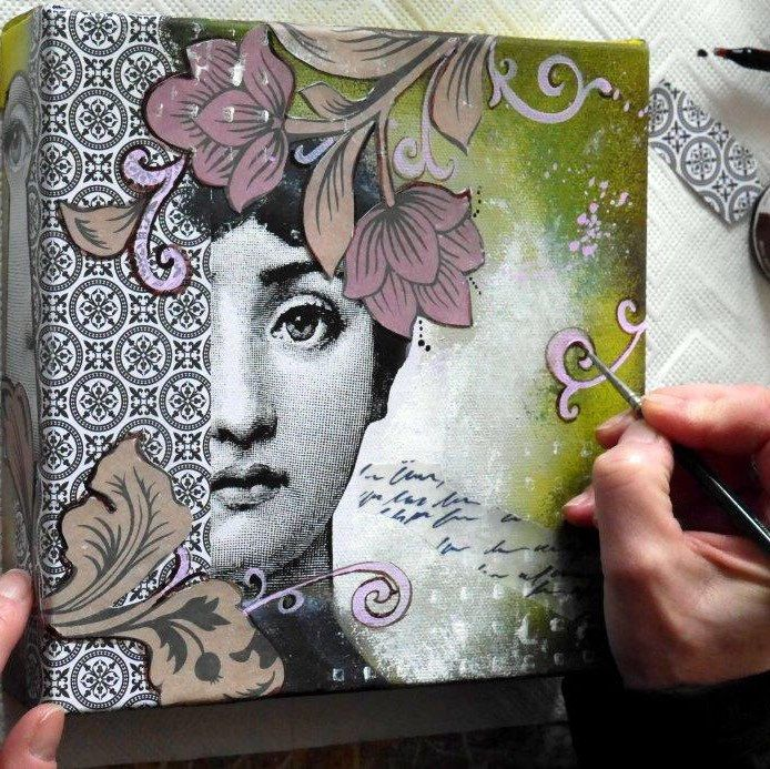 A new collage with details from the designer fornasetti - Leinwand dekorieren ...