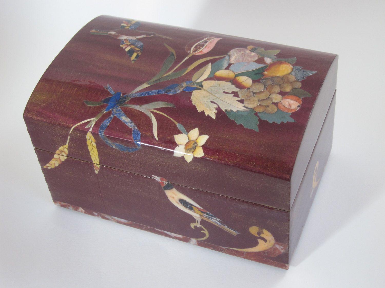 Handmade Decorative Boxes Decoupage Box With Petra Dura Images Jewelry Box Decorative Box