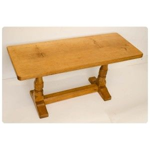 Antique Solid Oak Ft Coffee Table By Robert Mouseman Thompson - 3ft coffee table
