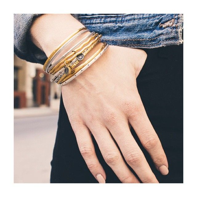 These sun & moon bangles inspire us to shine brightly like we do ✨✨ #sun #moon #celestial #jewelry #accessories #retrograde #mercuryinretrograde #shine #inspire #gold  #style #summer #SatyaStyle #SatyaJewelry #DesignedForTheJourney # #