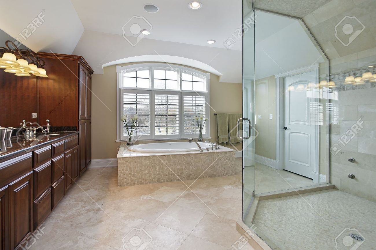 Another Example Of A Drop In Tub With A Platform Bathroom Luxury Master Bathrooms Glass Shower