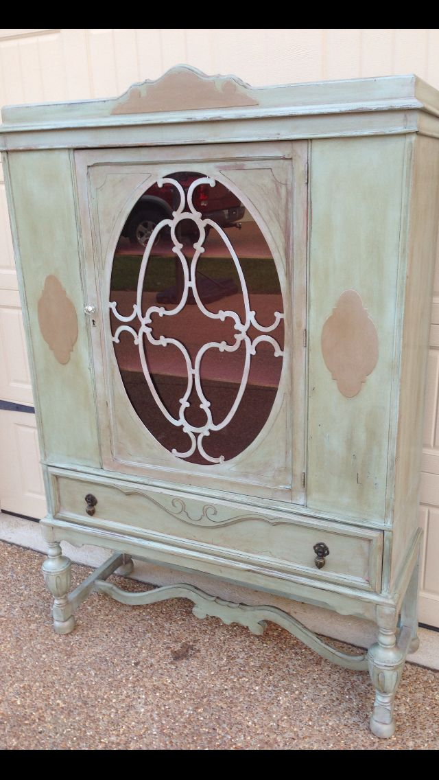 Antique china cabinet painted with Chalk Paint™. Duck Egg with washes of  Graphite, Coco and Primer Red. Inside is Primer Red. - Antique China Cabinet Painted With Chalk Paint™. Duck Egg With