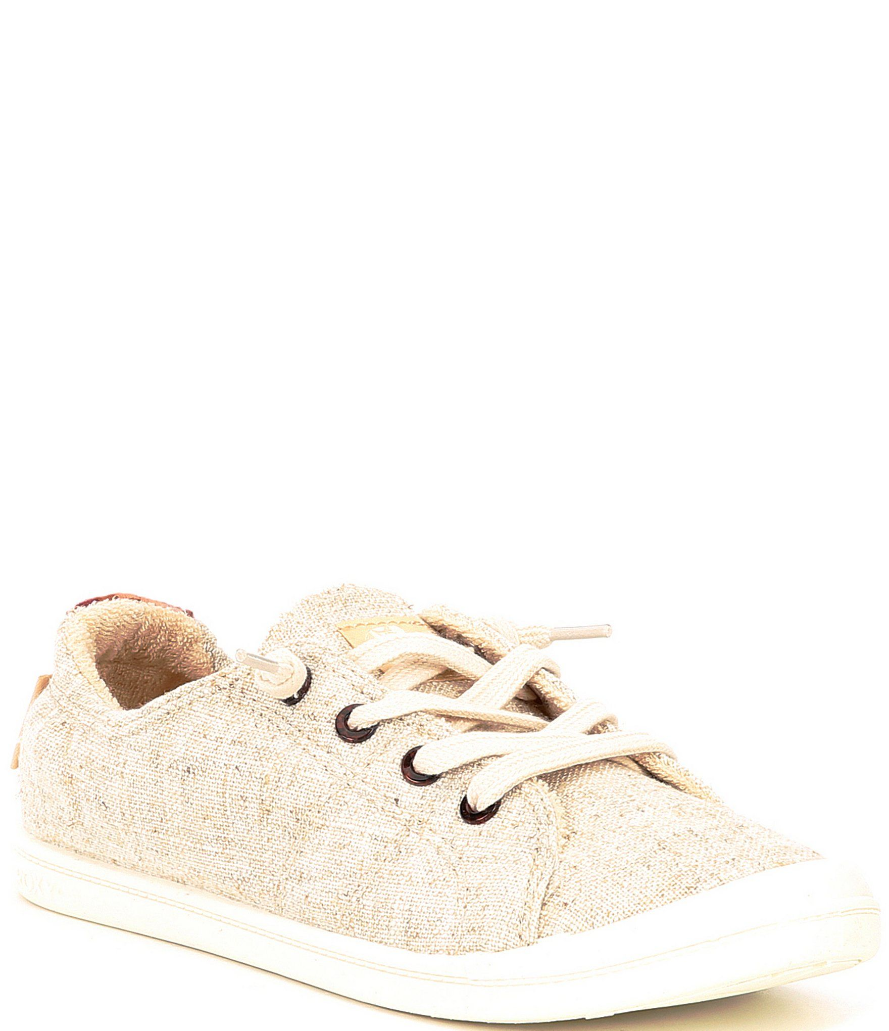 From Roxy, the Bayshore III Slip-On Sneakers feature:Canvas upperSlip on design with knotted laces for a custom fitMolded arch detailMemory foam padded insoleFabric liningRubber outsoleFlat heelImported.