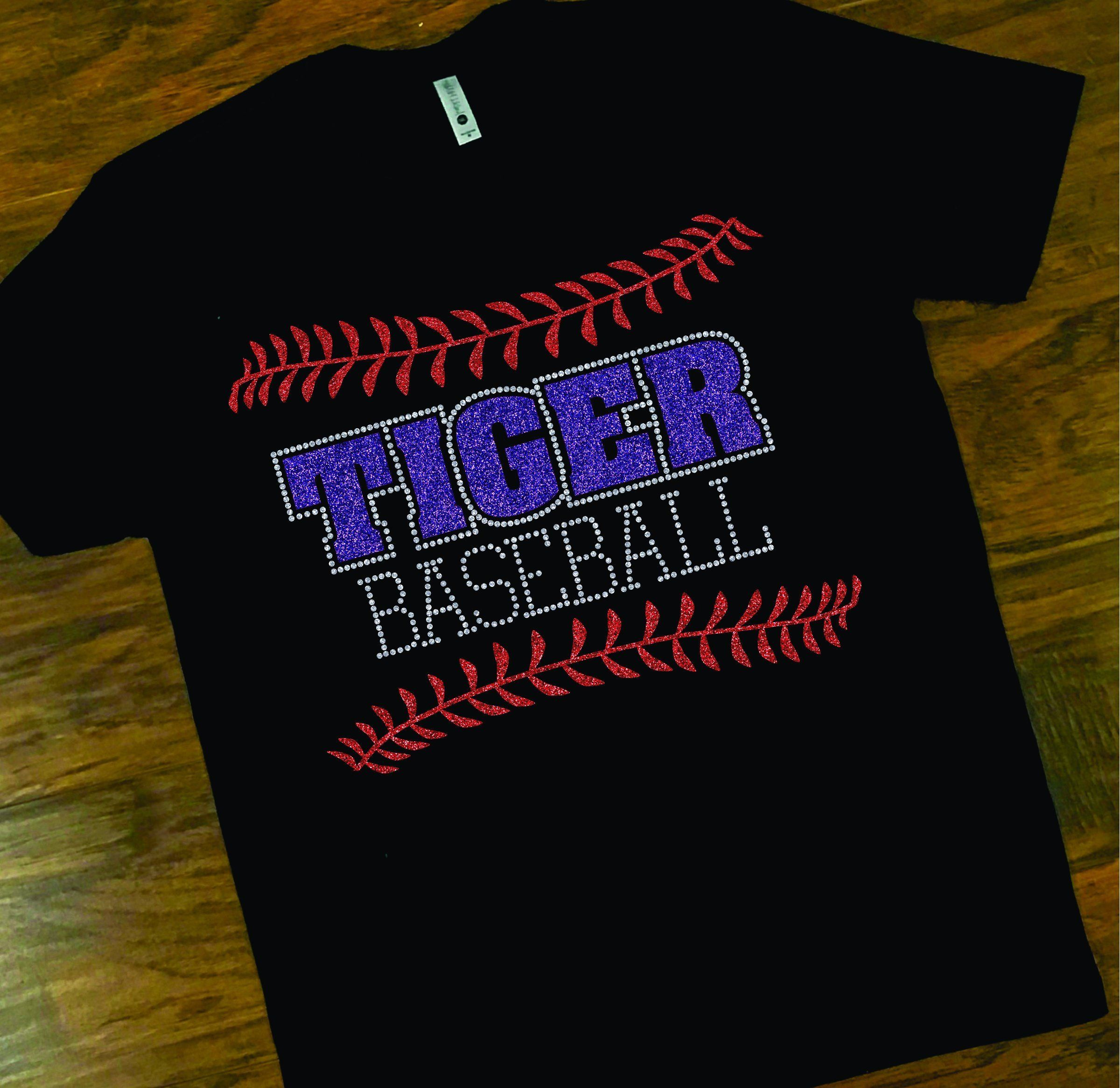 28560d9cf School Spirit Tiger tee, Tiger Baseball Glitter tee, Custom Glitter School  Spirit T-Shirt by shopMKD on Etsy
