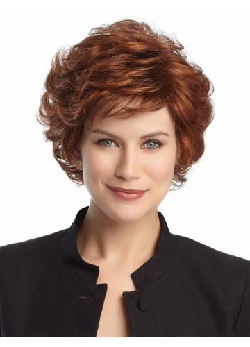 Short Dark Copper Wavy Synthetic Wig