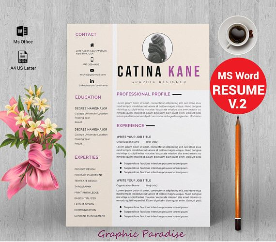 Professional resume template instant download, resume template