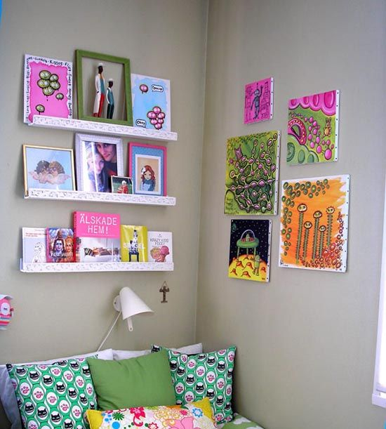 Lots Of Bright Kids Art   Bright Idea Moment   Why Dont I Hang 3 Canvases  In Kids Room And They Can Hang Their Fave Artworks Of The Moment   Like  Instant ...