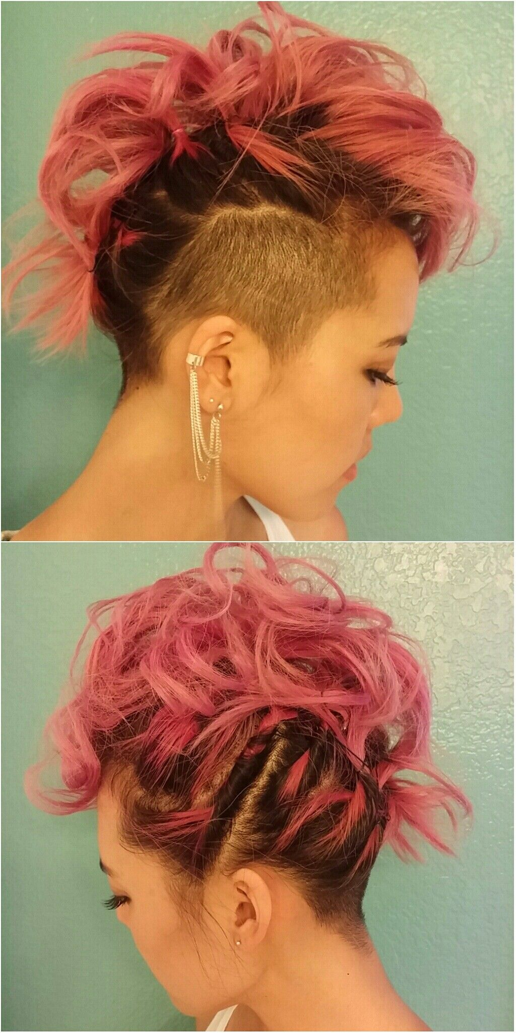 Pink curled mohawkfaux hawk with shaved side and undercut corto