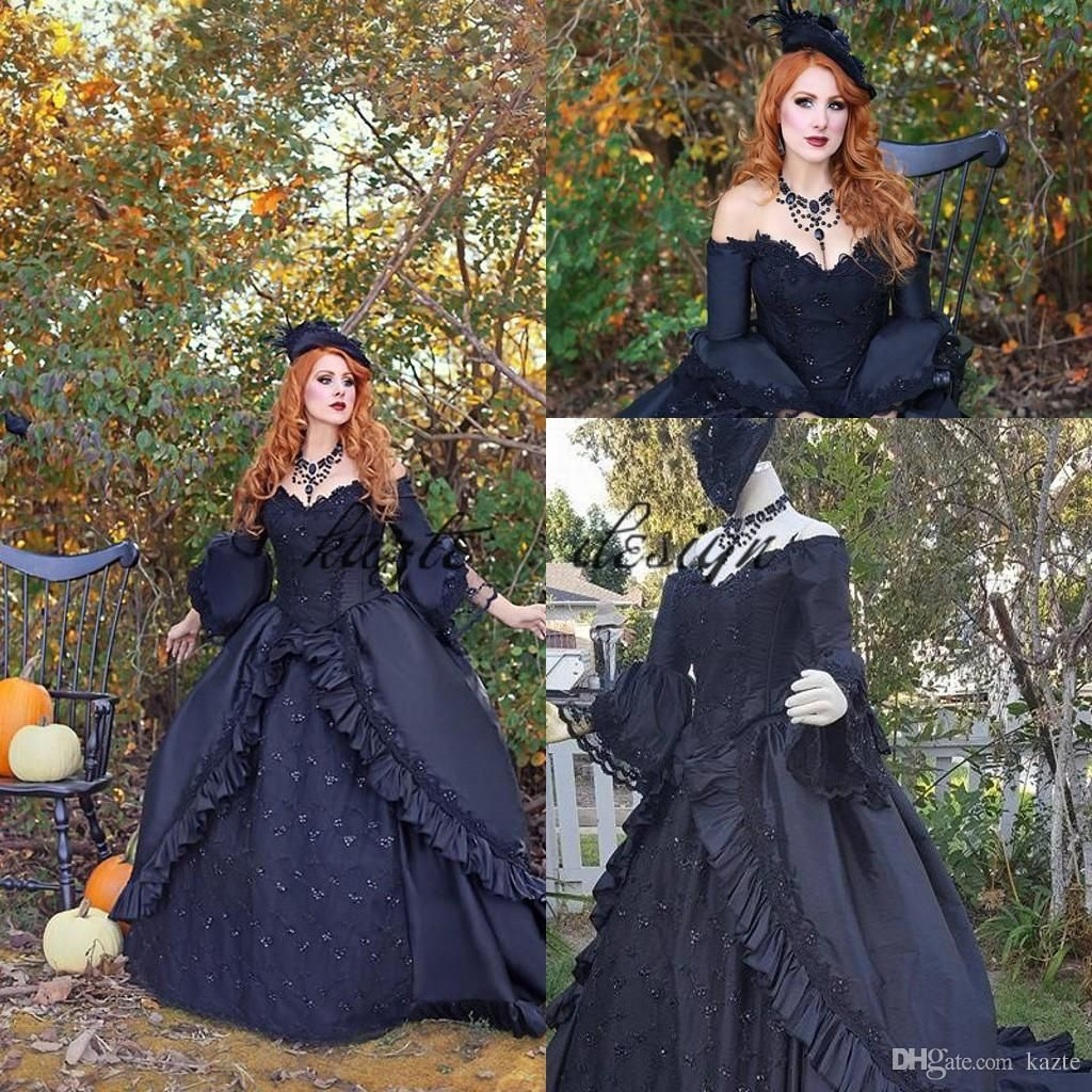 Black Brocade Victorian Gothic Georgian Period Marie Antoinette Occasion Prom Dress Ball Gown Vintage Victorian Period Costumes Women From Kazte 167 08 Dhga Wedding Dress Long Sleeve Prom Dresses Ball Gown [ 1024 x 1024 Pixel ]