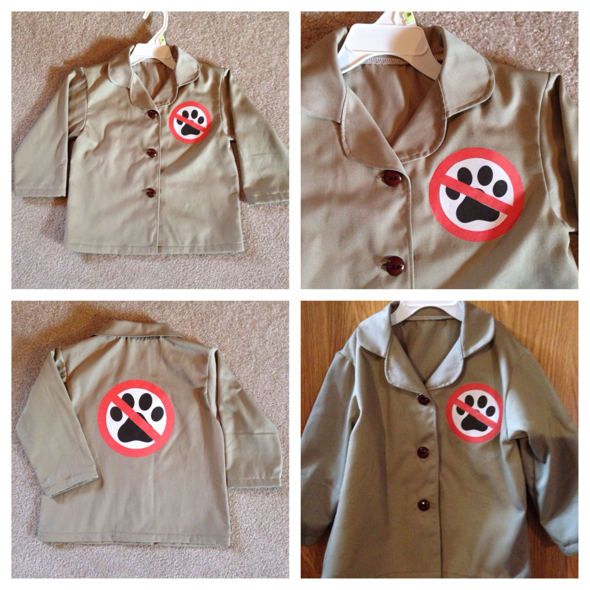 dog catcher costume for a 3-year-old little boy. his baby brother is