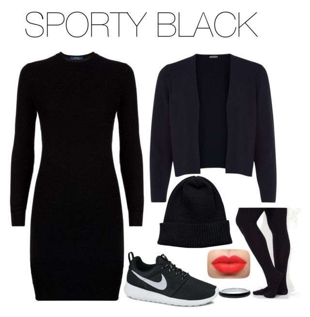 """""""SPORTY BLACK"""" by psicoadriana on Polyvore featuring moda, Polo Ralph Lauren, NIKE, Jaeger y NLY Accessories"""