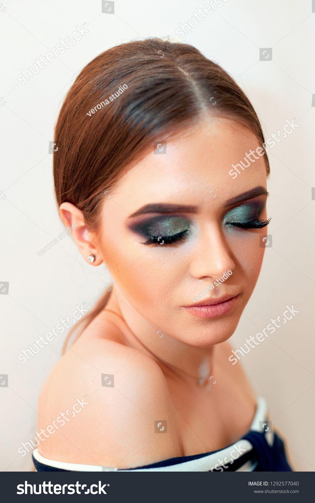 Beautiful model girl with Fashion Luxury Makeup, long eyelashes, perfect skin facial make-up. Beauty Brunette model woman holiday make up close up. Eyelash extensions, false eyelashes. Beauty Woman #Sponsored , #Affiliate, #long#Makeup#eyelashes#skin