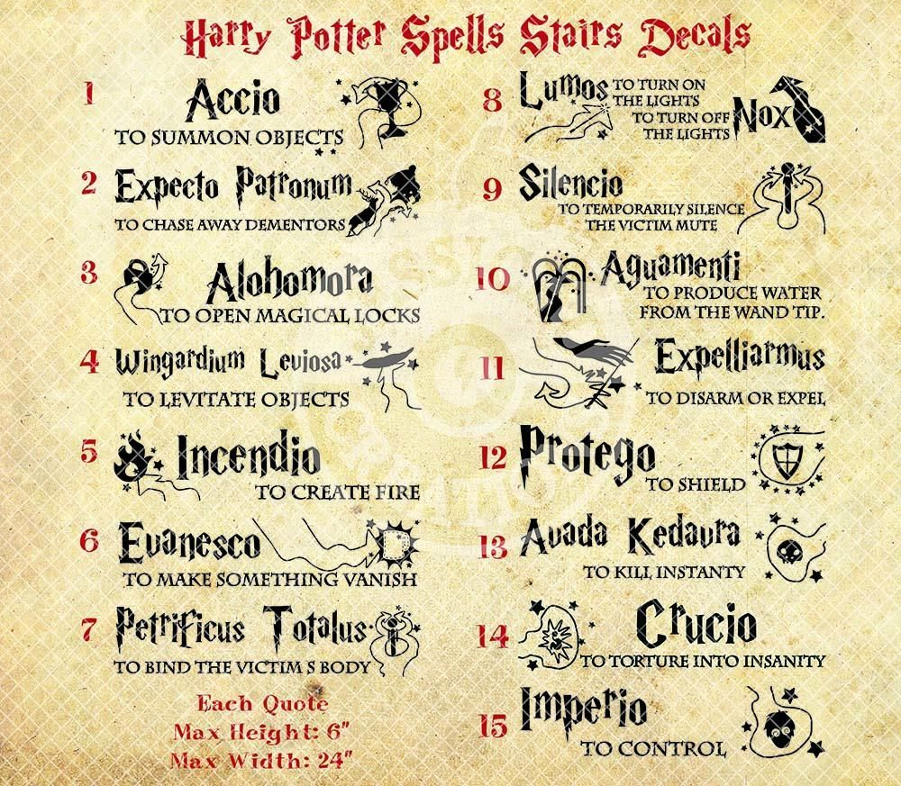 Jessichu Creations | Harry Potter Spells Vinyl Decals ...